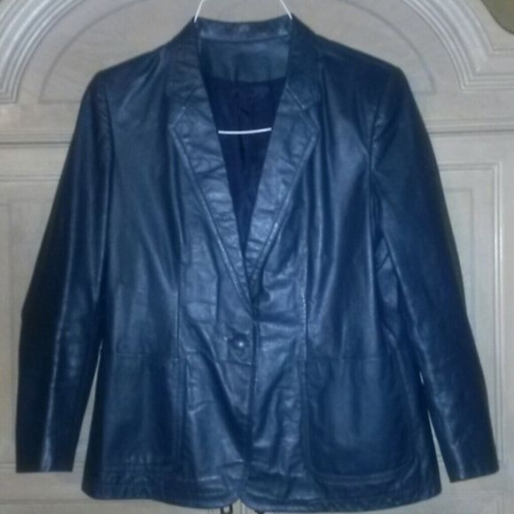 STUNNING NAVY BLUE CUSTOM MADE LEATHER JACKET M L Custom made Stunning DARK BLUE LEATHER JACKET. Great with your Vintage GUCCI Navy bags! ★★ DON'T PASS IT BY!  ONE OF A KIND. SUPPLE LEATHER n CUSTOM MADE! No rips, no tears, no smells, great soft suplle leather. Adding more so bookmark this. Thank you!! CUSTOM MADE KOREANA Jackets & Coats Blazers