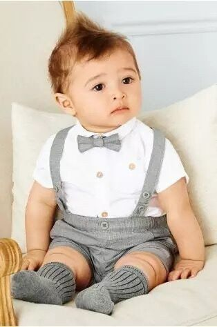 5a9e5e101e49 Baby White Shirt and Pants with Suspenders Set - Size Small to 24 months,  Clothing Sets- My Baby Society