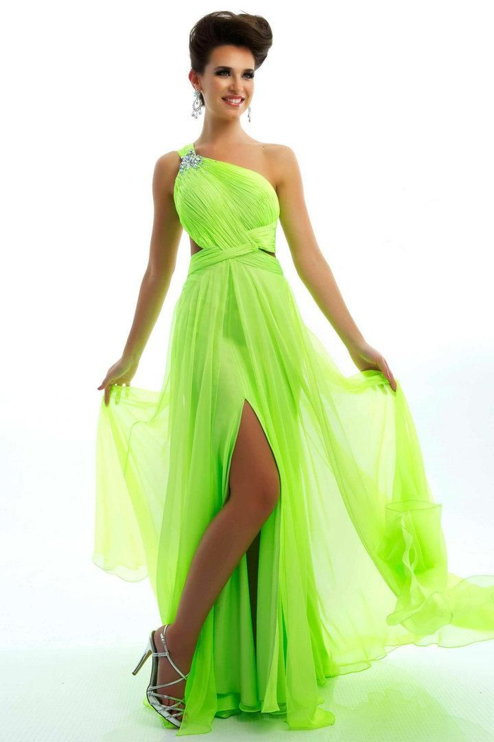 Lime Green Bridesmaid Dresses Side Floor Length Graduations 2017