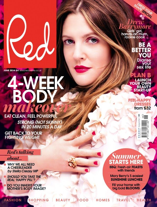 Drew Barrymore covers Red Magazine June 2014