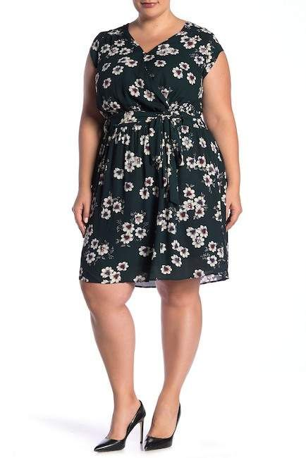 08a1f191a2f6 Daniel Rainn DR2 by Surplice Neck Floral Print Belted Dress (Plus Size)