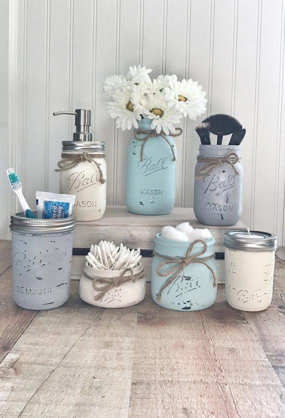 Mason Jar Bathroom set, mason jar bathroom organizer, painted mason jars, farmhouse decor #masonjarcrafts