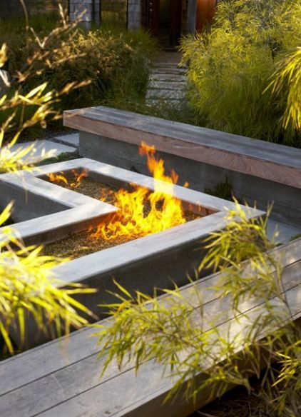 l shaped fire pit seating and the idea of making the top of the - L Shape Garden Decor