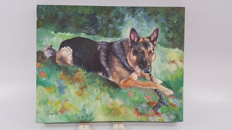 Connie Bowen Painting of German Shepard Dog - shopgoodwill.com #germanshepards