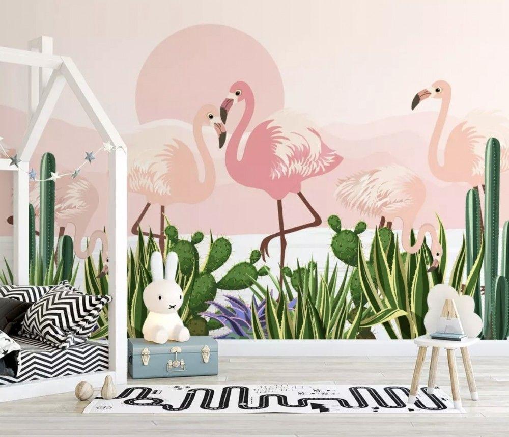 Flamingo with Cactus Wallpaper Mural in 2020 Nursery