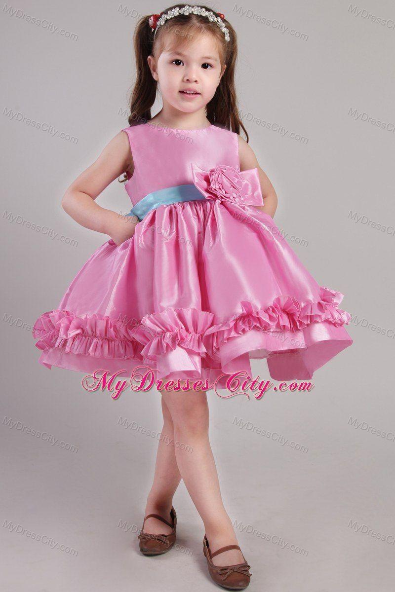 Little Girls Easter Church Dresses . -length Rose Pink