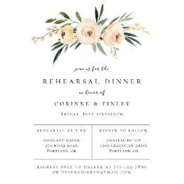 Elegant Neutral Floral Bouquet Rehearsal Dinner Announcement
