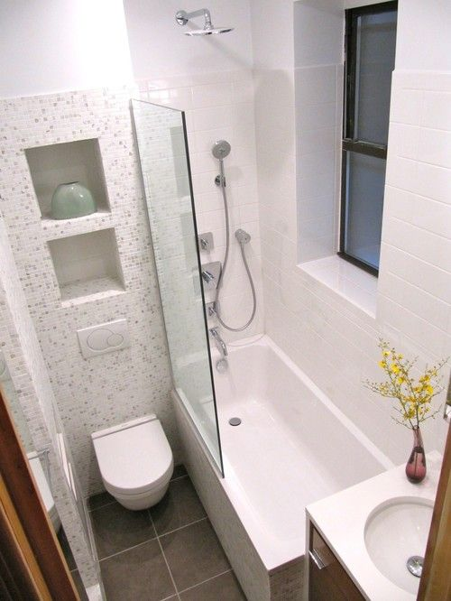 Niches in wall above toilet wall hung toilet; no shower curtain simply glass. Small space but ideas for any size bath & 3 Tips for Small Bathrooms | Bathrooms | Pinterest | Bathroom Small ...