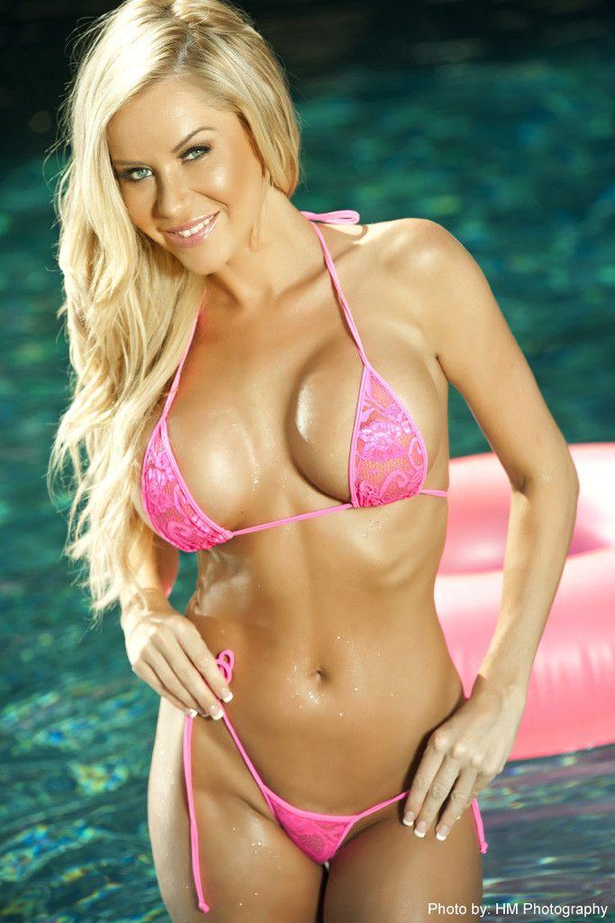 7df7b84e299de Lace g-string bikini offered in neon pink