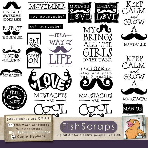 Photo Booth Quotes Inspiration Mustache Word Art  Moustache Wordart  Digital Graphics Quotes