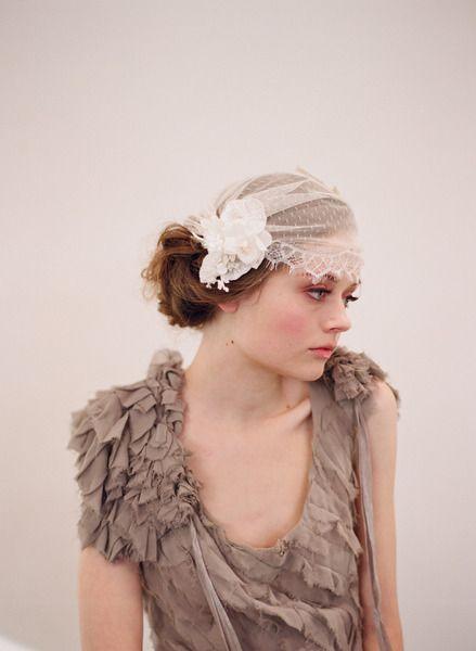 vintage bridal cap with lace trim