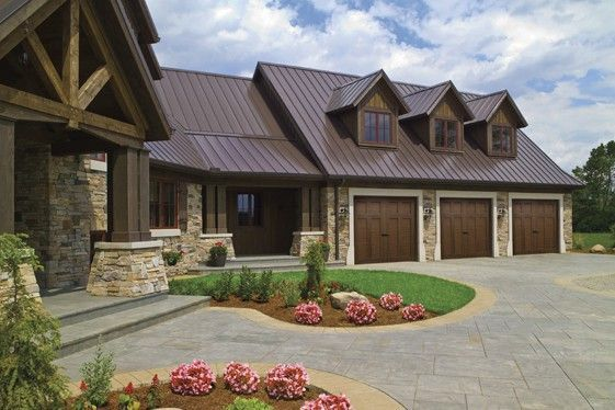 How Much Does A Garage Door Cost? | Brown metal roof ...