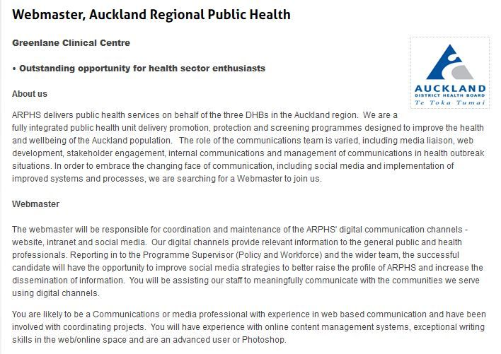 Webmaster Auckland Regional Public Health Greenlane Clinical