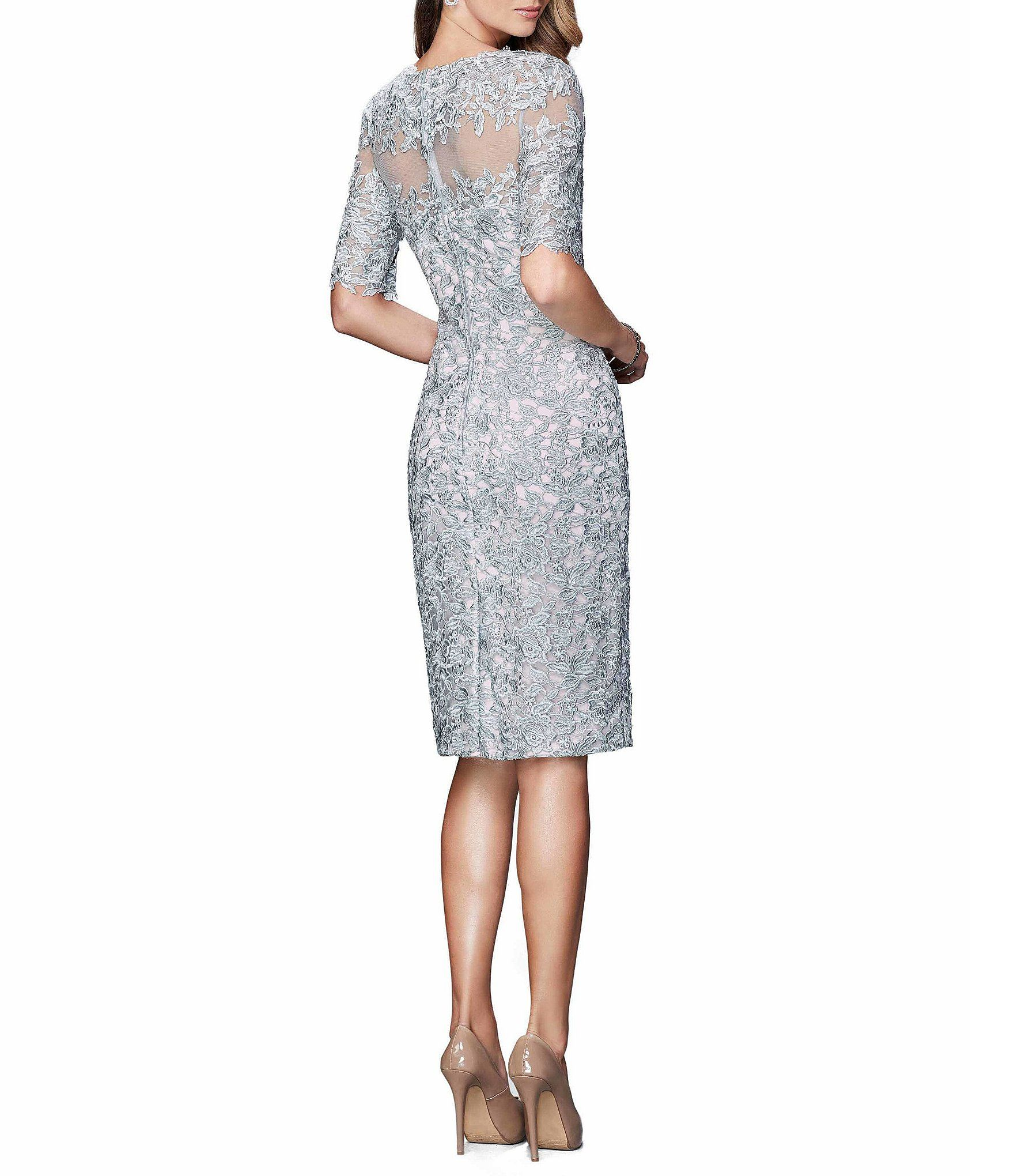 Shop for La Femme Illusion Neckline Lace Midi Sheath Dress at ...