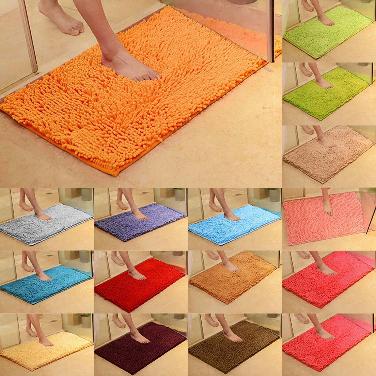 Soft Microfibre Shaggy Non Slip Absorbent Bath Mat Bathroom Shower Rugs Carpet