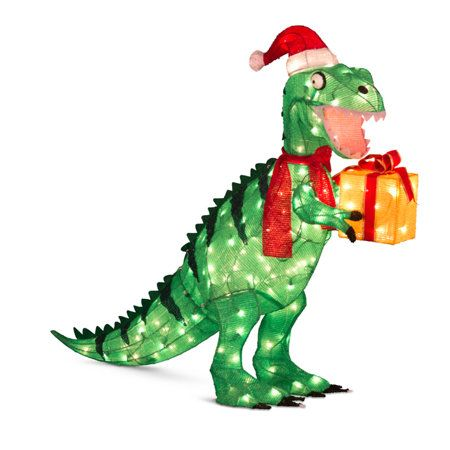 animated tinsel dinosaur christmas decorations dinosaurs - Dinosaur Christmas Decorations