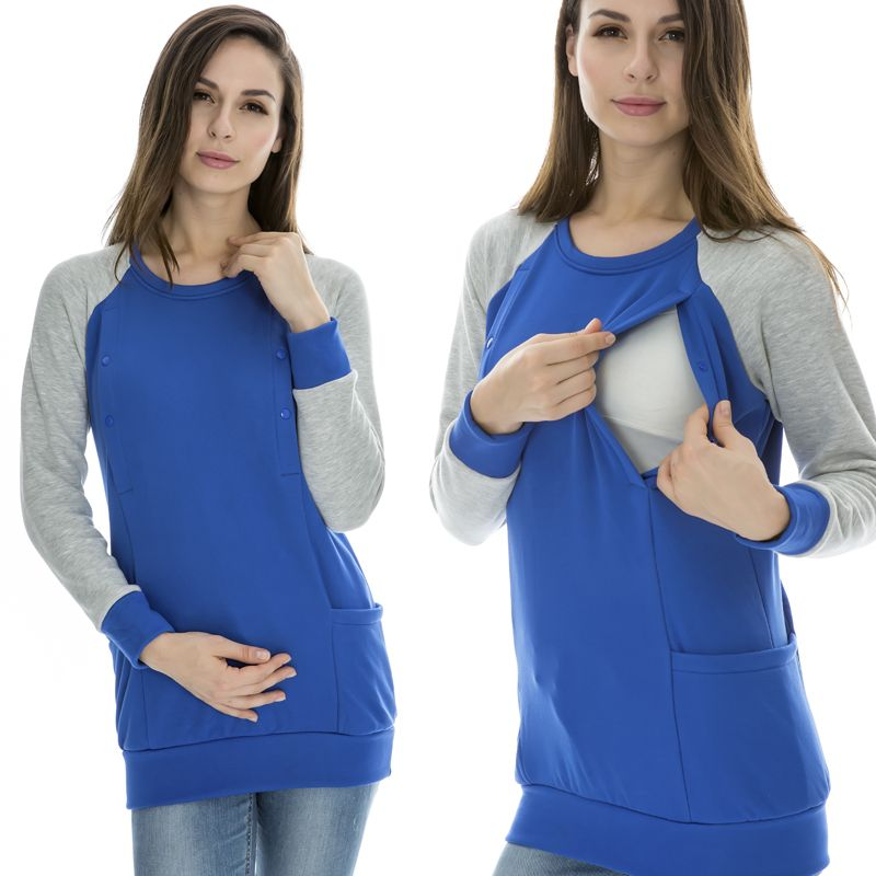 96c2100563c24 Maternity Nursing top Autumn and Winter Breastfeeding Clothes Fashion  Nursing loading Thick thermal fleece long-