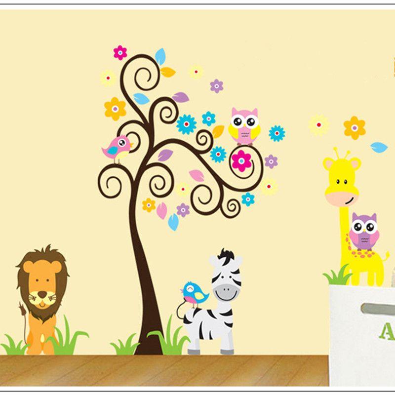 Pas cher mignon arbre cartoon owl lion animaux arbre vinyl pas cher mignon arbre cartoon owl lion animaux arbre vinyl stickers muraux enfants enfants bb home decor wall paper decal sticker dco art nouveau voltagebd Gallery