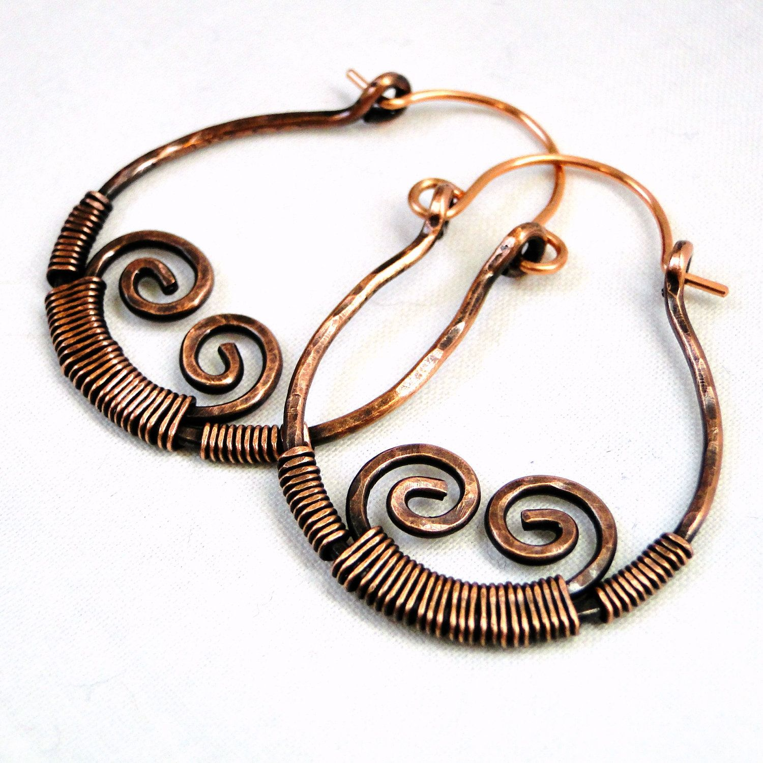 Hoop Earrings, Antiqued Copper, Wire Wrapped Jewelry, Modern Jewelry ...