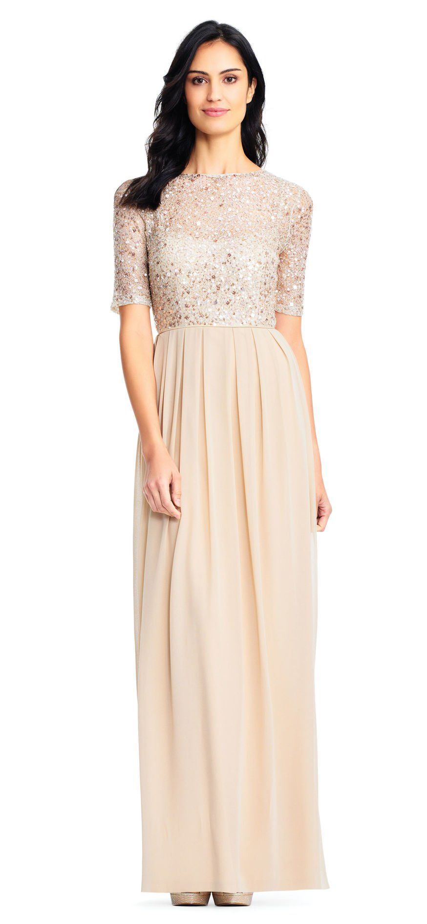 dd9667ef47fe Adrianna Papell | Short Sleeve Chiffon Dress with Sequin Lace Bodice ...