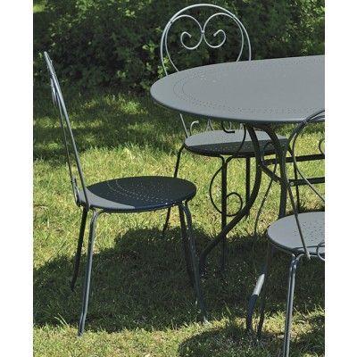 Salon de jardin Romantique table ovale + 6 chaises métal gris (Salon ...