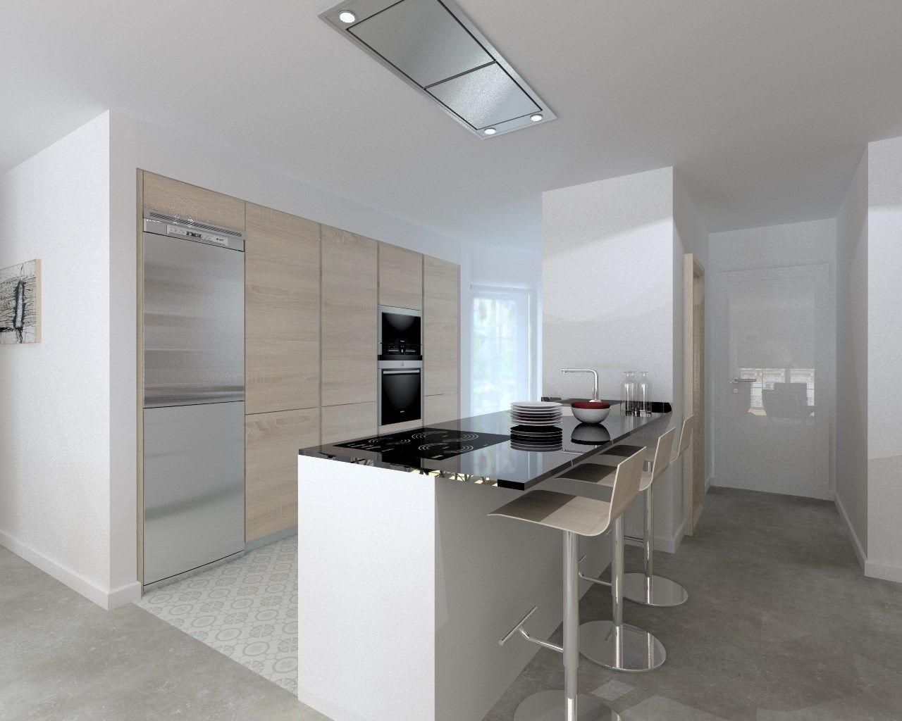 Cocina santos modelo line estratificado blanco roble encimera granito negro a comer kitchen - Encimera granito negro ...