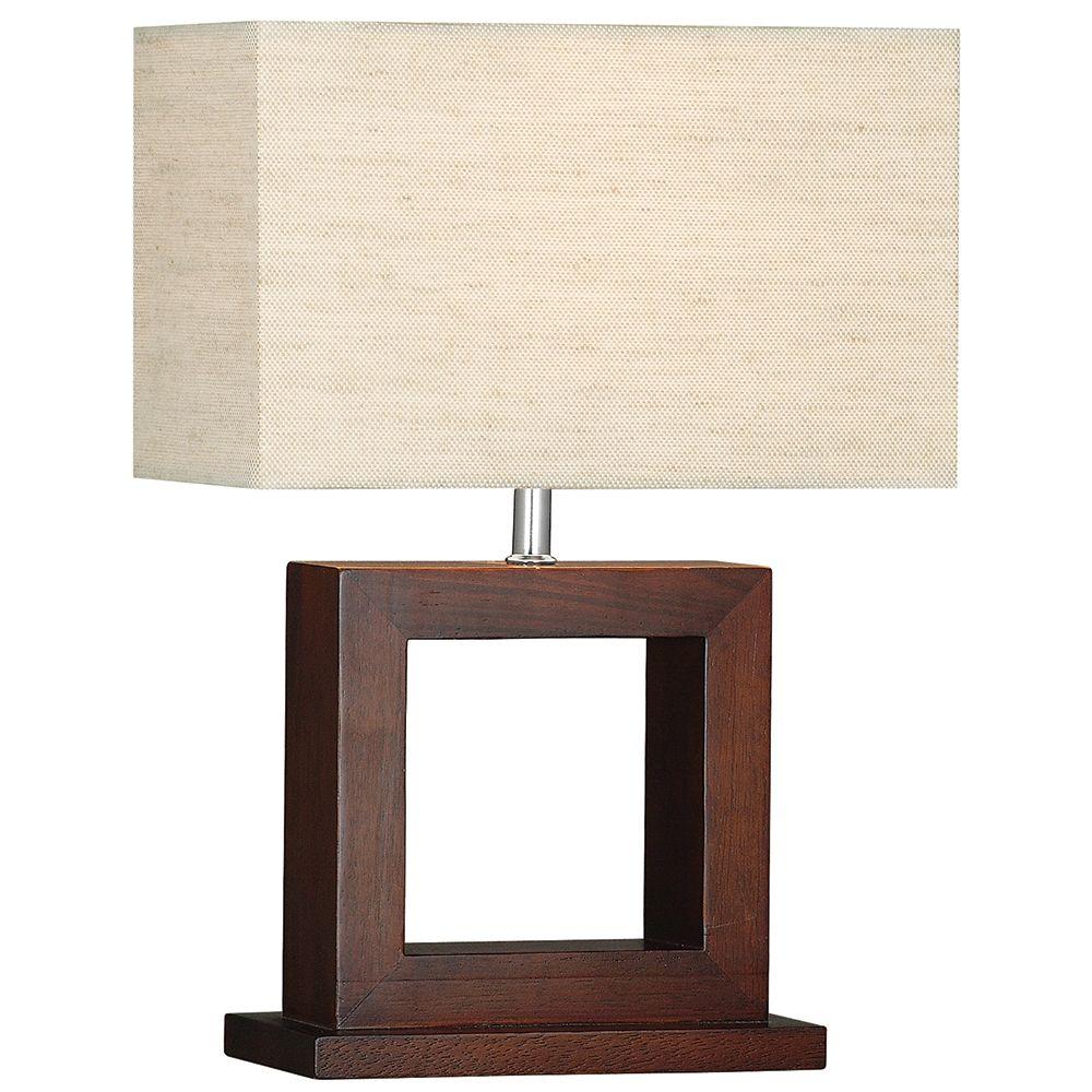 Cosmopolitan Dark Wood Square Design Table Lamp With Fabric Shade