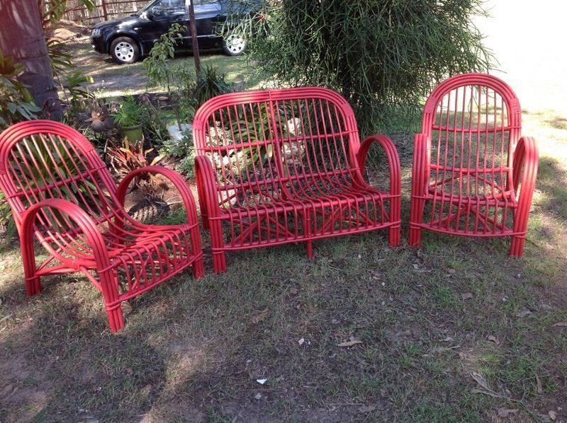 Antique shabby art deco cane lounge and arm chairs