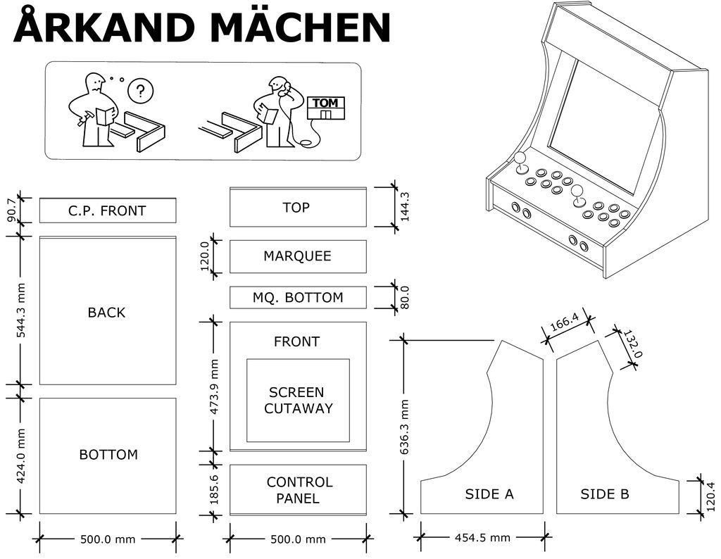 Arcade Cabinet Dimensions Plans For Lcd Mame Bartop With Sliding Keyboard And Marquee Diy