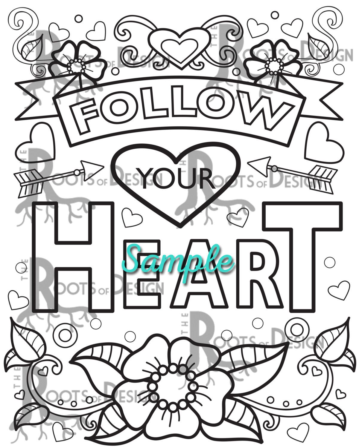 Instant Download Coloring Page Follow Your Heart Quote Coloring Print Doodle Art Printable Coloring Pages Love Coloring Pages Following Your Heart Quotes