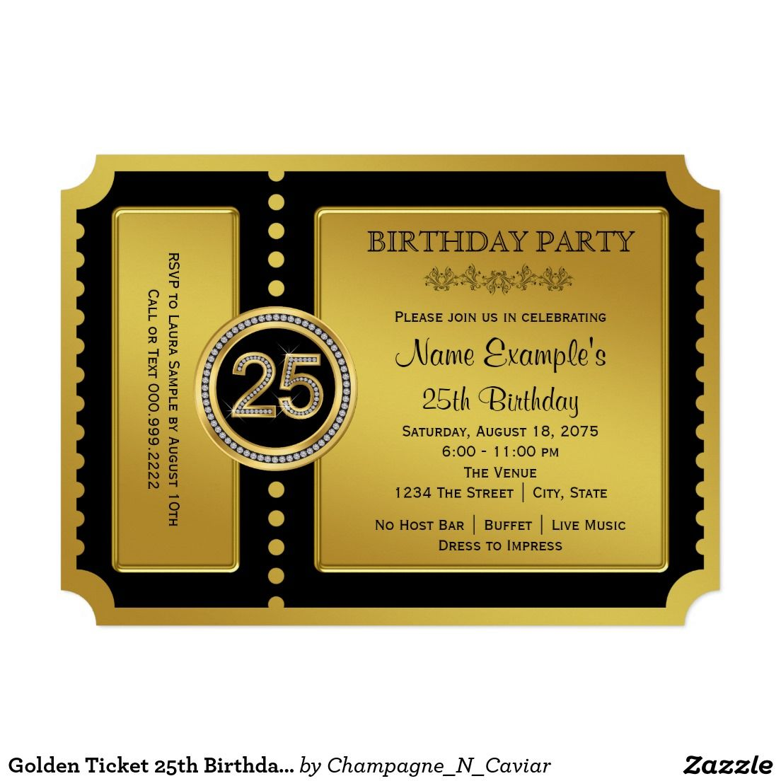 Golden Ticket 25th Birthday Party 5x7 Paper Invitation Card ...