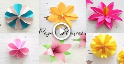 6 simple DIY paper flowers | Make flowers #constru - Paper Flower Backdrop Wedding #easypaperflowers