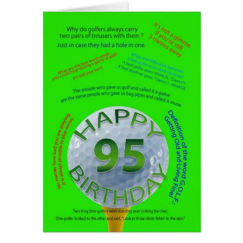 Golf Jokes Birthday Card For 95 Year Old Golfer Pinterest Golf
