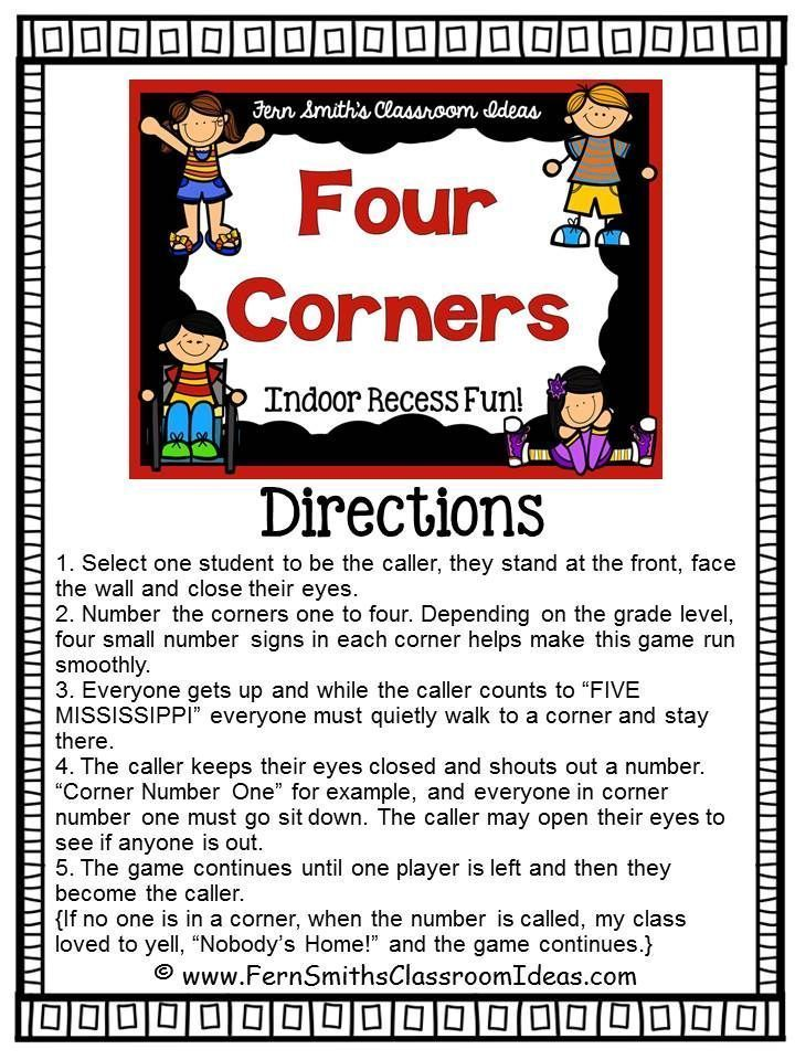 Indoor Recess Four Corners Directions GLK Gym games