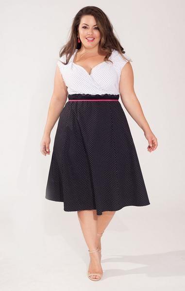 Take Extra 50 Off Plus Size Clara Dress In Retro Dot Shop Www
