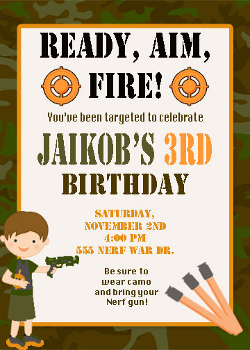 Free Printable Nerf Birthday Invitations ~ Boy s dart tag invitation invite laser nerf war guns and party