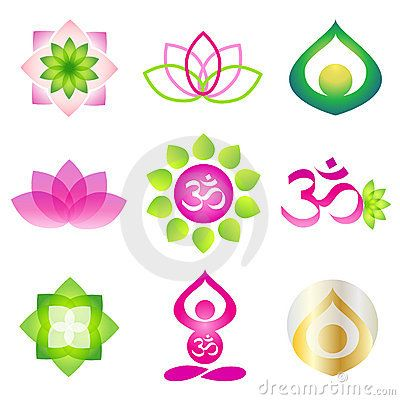 Collection Of 9 Vector Isolated Yoga Logo Elements Lotos Om And Meditation Person Symbols On White BackgroundIdeal For Corporate Icon