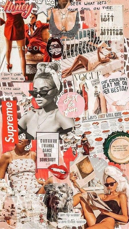 'red retro collage ' Poster by p <3