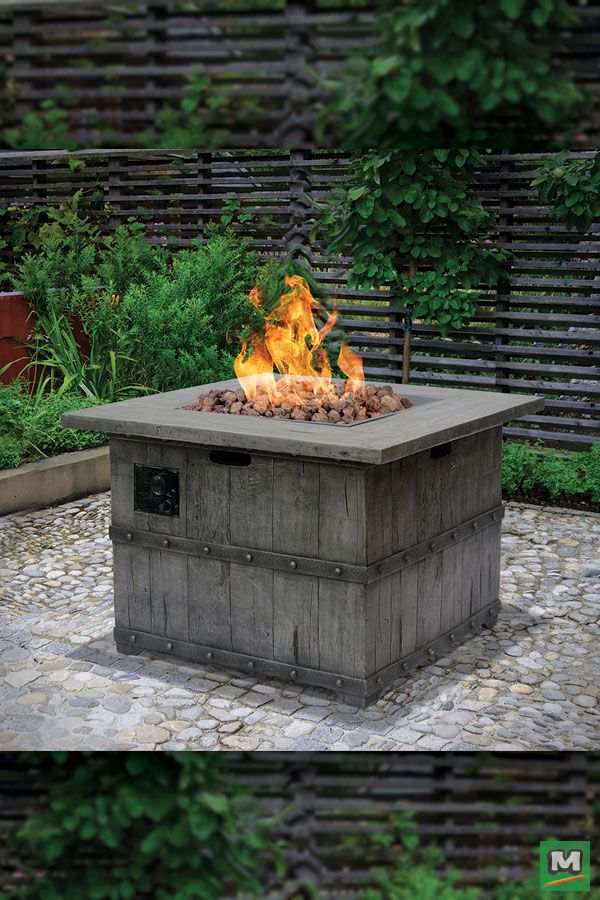 Who Says You Can T Enjoy Your Patio Area All Year Round Now You Can With The Backyard Creations Union Paci Backyard Fire Fire Pit Backyard Backyard Creations