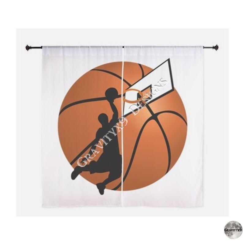 slam dunk basketball player w hoop on ball curtain home decor rh gr pinterest com