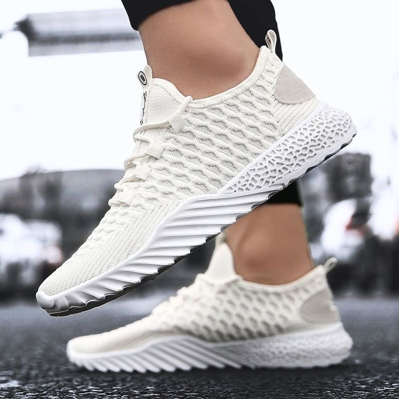 Men's Flyknit Shoe Casual Sneakers Personality Tide Sport Shoes is part of Shoes - Outer MaterialFlyknit Inner MaterialTextile Sole MaterialRubber ColourBlack,White,Black&Yellow Closure StyleLaceup StyleSport shoes