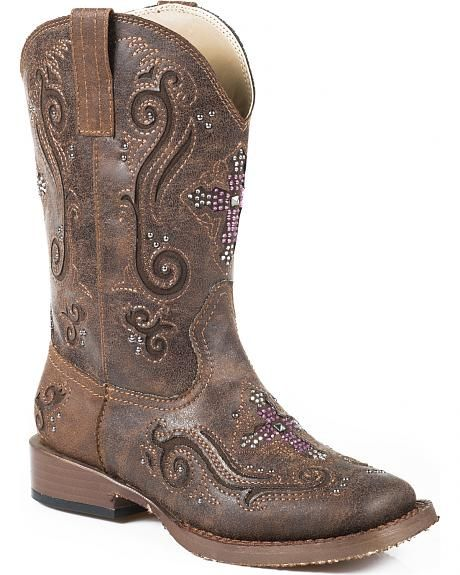 Roper Girls/' Girl/'s Glitter Western Braid Cowgirl Boot Square Toe