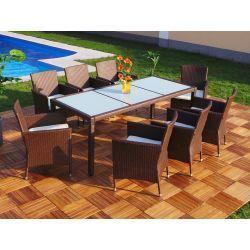 Polyrottinki 8 tuolia ja pöytä Premium, 619,95€. Ylellinen kuuden henkilön ruokaryhmä korkealaatuisesta polyrottingista. Polyrottinki on käsin kudottu pulverimaalattuun runkoon. Polyrottinki on materiaalina erittäin säänkestävä. Se kestää niin suoraan auringon paistetta ja kuumia lämpötiloja kuin myös pakkasta menettämättä väriään. #ruokaryhmä