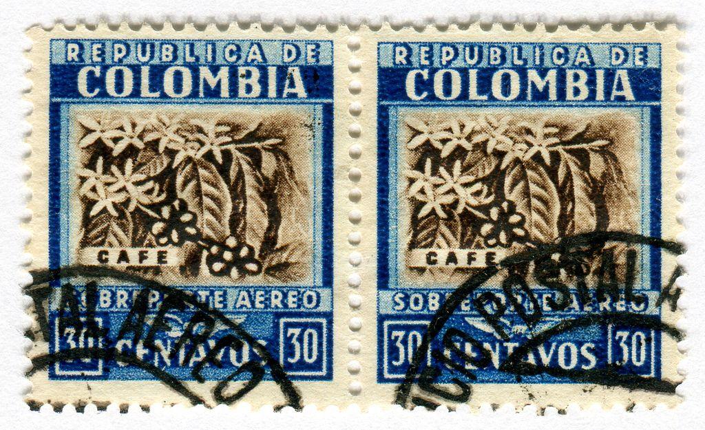 Colombia postage stamp cafe flower stamp postage
