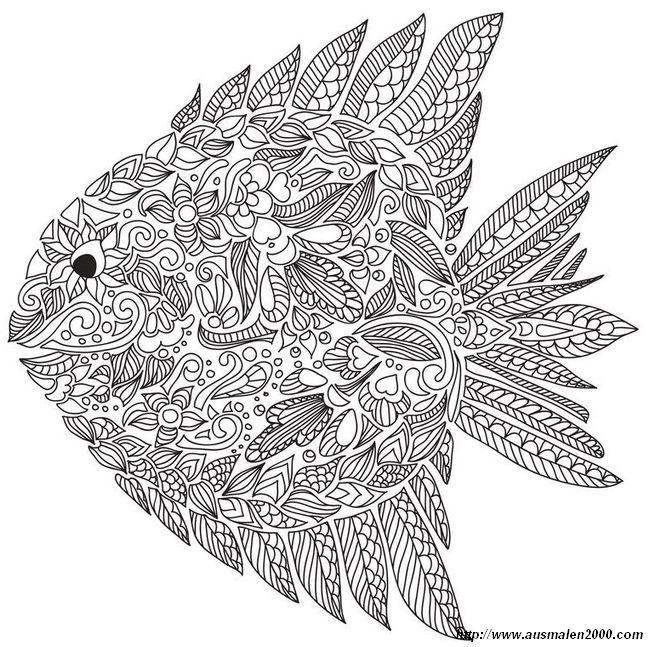 ausmalbild Fisch mit vielen Details | vrlagen 9 | Pinterest ...