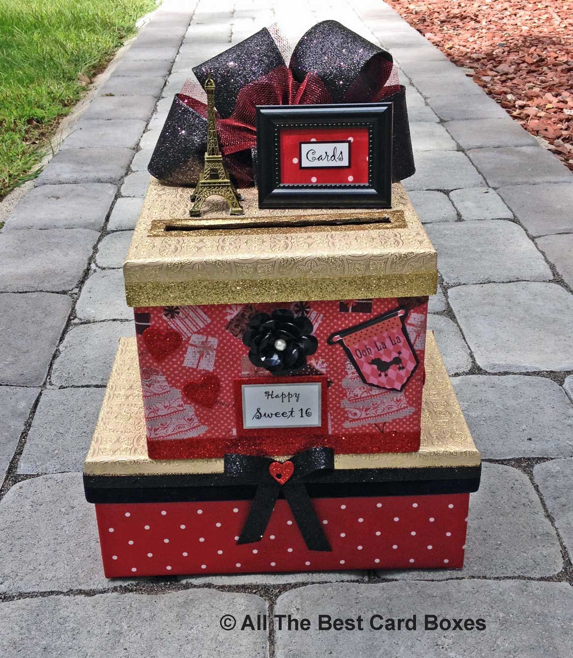 Sweet 16 Card Box,Sweet 16 Invitation,Paris theme party,Paris Invitation,Quinceanera,Card Box,Eiffel Tower,eiffel tower cake topper,red #sweet16cakes