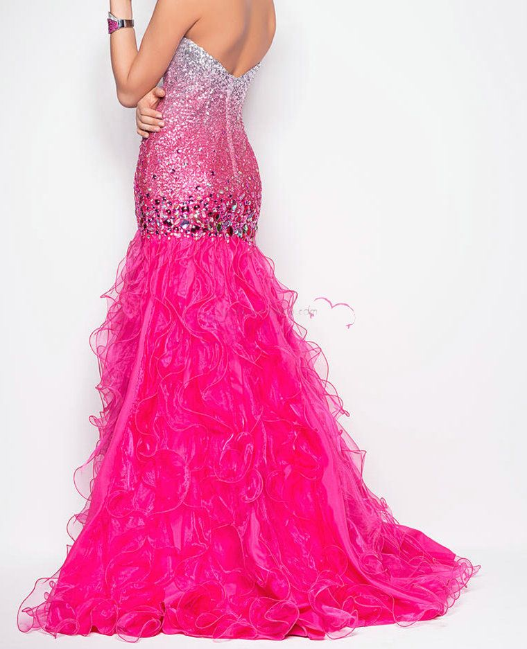 hot+pink+prom+dresses+2014 | Sweetheart Beaded Slit Organza Hot Pink ...