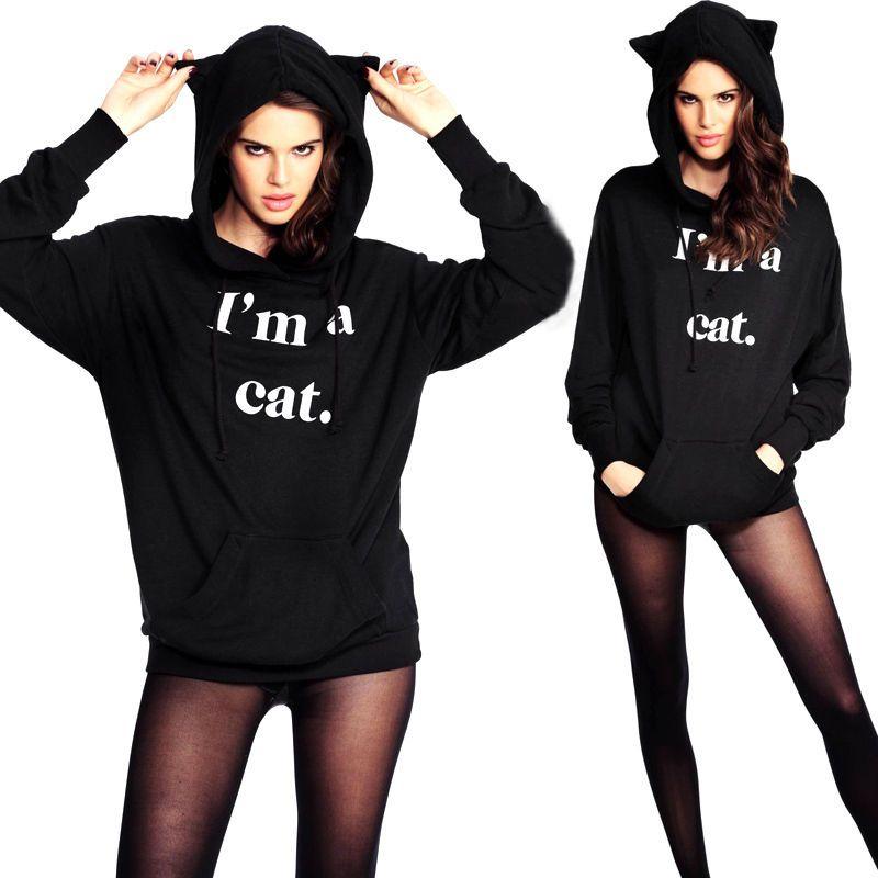 2016 한국 블랙 무성한 고양이 귀 여성 후드 후드 따뜻한 긴 소매 스웨터 캐주얼 귀여운 착실히 보내다 sudadera mujer