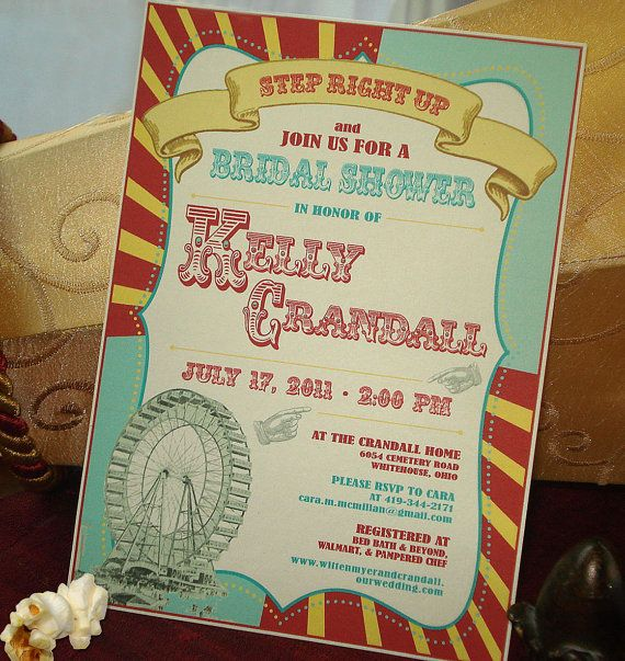 I love the Ferris wheel and whole look of this card!!! Under+the+BigTop+Vintage+Carnivale+Bridal+Shower+by+envymarketing,+$4.00