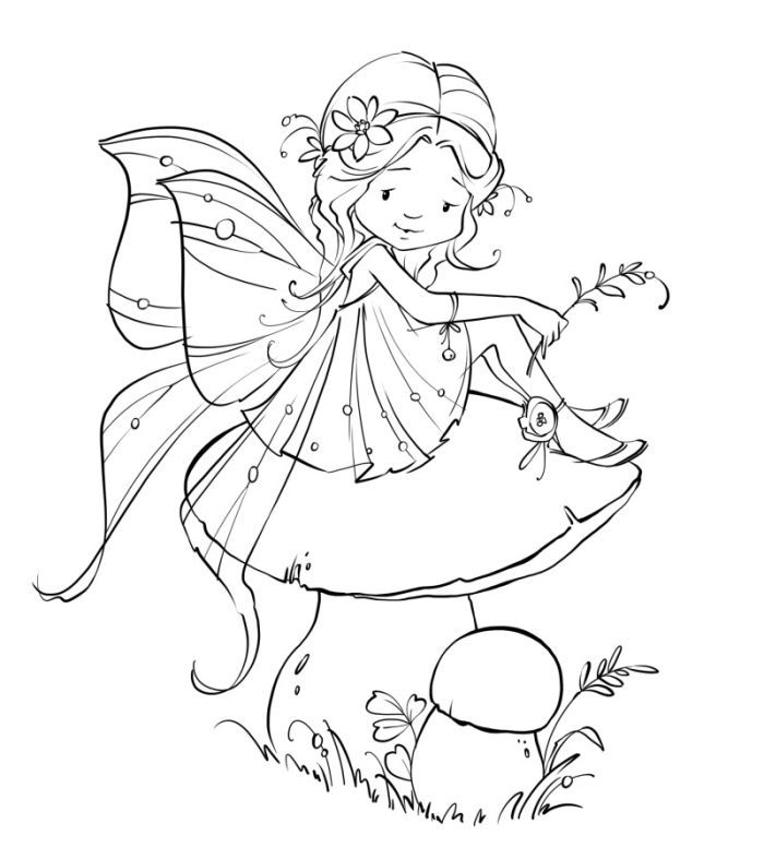 Marina Fedotova Mf 016 Psd Fairy Drawings Digital Stamps Free Fairy Coloring